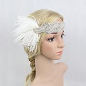 Meiliy Roaring 20s Feather Headband 1920s Vintage Sequined Headpiece Art Deco Gatsby Flapper Headband
