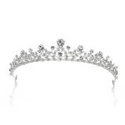 SWEETV Crystal Princess Tiara Party Prom Wedding Crown Leaf Bridal Headpiece, Silver