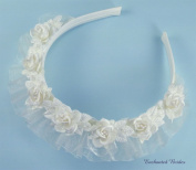 Charming Child Headband of Silk Rose Flowers & Leaves Adorned with Seeds and Organza Ruffle for Wedding Flower Girl, Communion, and Other Special Events