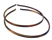 Parcelona French Ultra Thin Set of 2 Tortoise Shell Brown Celluloid Acetate Flexible Headbands