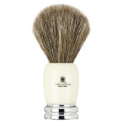 Vie-Long Brown Horse Hair, Ivory Acrylic and Silver Shaving Brush by Vie-Long