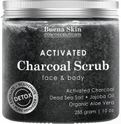 The BEST Activated Charcoal Scrub 300ml- Pore Minimizer & Reduces Wrinkles, Blackheads & Acne Scars, & Anti Cellulite Treatment - Great Body & Face Cleanser by Buena Skin