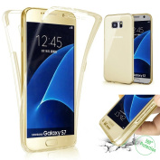 Galaxy S7 Case,PHEZEN Scratch Proof 360 Front and Back Full Body Protection Semi Transparent Flexible TPU Bumper Case Anti-Scratch Protective Case For Samsung Galaxy S7, Gold