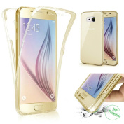 Galaxy S7 Edge Case,PHEZEN Scratch Proof 360 Front and Back Full Body Protection Semi Transparent Flexible TPU Bumper Case Anti-Scratch Protective Case For Samsung Galaxy S7 Edge, Gold