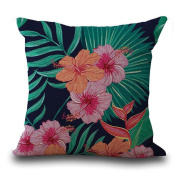 Amiley Cushion Cover Pillow Case , Easter Vintage Flower Tropical Leaves Waist Throw Pillow Case Cushion Cover Home Deco