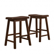 Collins Rubberwood Saddle Back Wooden Counter Height Bar Stools - Set of 2