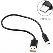 LG G6 Compatible Black Short 0.3m Type-C Cable Rapid Charge USB Wire Sync USB-C Power Data Transfer Cord