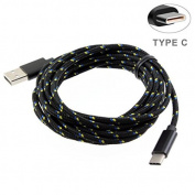 LG G6 Compatible Black Durable Braided 3m Long Type-C Cable Rapid Charge USB Wire Sync USB-C Power Data Cord