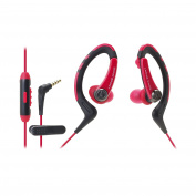 Audio-Technica ATH-SPORT1iSRD SonicSport In-Ear Headphones for Smartphones, Red