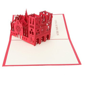 Wivily Notre Dame de Paris Handmade 3D Pop Up Greeting Cards for Birthday Friend Greeting Gifts