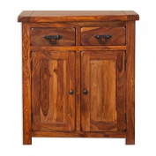 Vellar Living Indian Rosewood Mini Sideboard / Solid Sheesham Rosewood 2 Drawer 2 Door Hallway Cabinet / Chunky Hallway Furniture