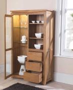 Crescent Solid Oak Furniture Glazed Display Cabinet Cupboard