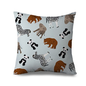 Animal Pattern Pillow Case Covers with Zipper Square Canvas Accent Pillow Sham for Sofa 45 x 45 cm Sofa Cushion Cover Case