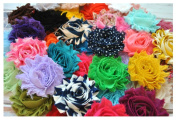 YYCRAFT (30 pieces) Shabby Flowers - Chiffon Fabric Roses - 6.4cm - Solids and Prints Included - Assorted Colour Mix