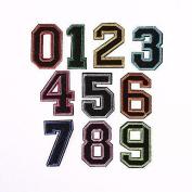 CraftbuddyUS 0-9 iron On Colour Numbers Fabric Motifs, SewOn Stick on Craft DIY