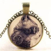 Vintage Steampunk Cat Cabochon Glass Bronze Chain Pendant Necklace