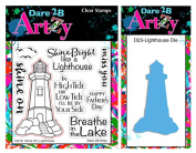 Dare 2B Artzy Shine On Lighthouse Clear Cling Rubber Stamp Set (16219) and Bronze Steel Die (D23) Bundle 2 items