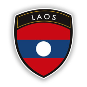 2 x 10cm/100mm Laos Flag Design Vinyl Stickers Travel Luggage #10657