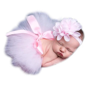 Newborn Baby Photography Props Headdress Tutu Skirts for Girls Photo Wrap Pink
