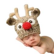 Haahaha Newborn Baby Handmade Antlers Knitted Crochet Hat