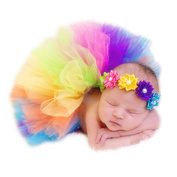 Newborn Baby Photography Props Headdress Tutu Skirts for Girls Photo Wrap Multicoloured