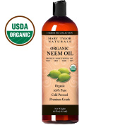 USDA Certified Organic Neem Oil 470ml by Mary Tylor Naturals, Premium Grade, Cold Pressed, 100% Pure, Great for Hair, Skin and DIY Projects