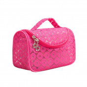 Drasawee Women's Travel Accessory Cosmetics Organiser Makeup Bag PVC Lace Handbag Rosy Red
