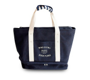 Finex CANVAS Winner Bag Weekend Tote Bags with Shoes Sneakers Comparment plus a little Pouch - One Blue