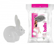 Ceramic Bunny Rabbit Cotton Ball Dispenser with Swisspers Cotton Balls
