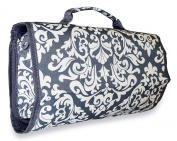 Ever Moda Damask Women's Juniors Hanging Toiletry Bag Grey White