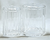 Diamond-line Acrylic Cotton Ball & Swab Keepers
