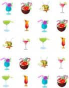 Summer Drink Mix Cocktails / Fruity Drinks Tropical Beach Fun Nail Art Decals