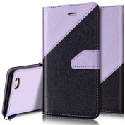 iPhone 6 Plus Case,iPhone 6S Plus Wallet Case,PHEZEN Elegant Two-colour Design PU Leather Magnetic Flip Cover Protective Case with Card Slots for iPhone 6 Plus/6S Plus 14cm , Black + Light Purple