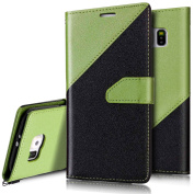 Galaxy S6 Edge Wallet Case,Galaxy S6 Edge Flip Case,PHEZEN Elegant Two-colour Design PU Leather Magnetic Flip Cover Protective Case with Card Slots for Samsung Galaxy S6 Edge, Black + Green
