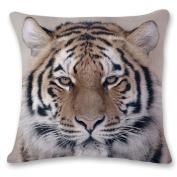 Highpot Wild 3D Tiger & Lion Head Prints Square Throw Pillow Case Hidden Zip Cushion Cover Sofa Car Home Decorative