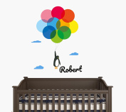 Custom Name - Baby Penguin Flying With Colourful Balloons And Clouds - Baby Girl - Wall Decal Nursery For Home Bedroom Children