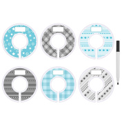 Blulu Clothing Rack Size Dividers Round Hanger Dividers Blue and Grey with Marker Pen, Dot, Star and Grid