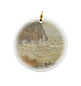 Rikki Knight Claude Monet Art Stormy Sea Design Round Porcelain Two-Sided Christmas Ornaments
