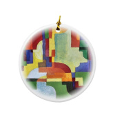 Rikki Knight August Macke Art Coloured Forms I Design Round Porcelain Two-Sided Christmas Ornaments