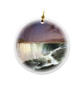 Rikki Knight Frederick Edwin Church Art Niagara Design Round Porcelain Two-Sided Christmas Ornaments