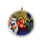 Rikki Knight August Macke Art White Jug with Flowers and Fruits Design Round Porcelain Two-Sided Christmas Ornaments