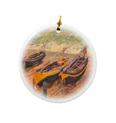 Rikki Knight Claude Monet Art Three Fishing Boat in Eretart Design Round Porcelain Two-Sided Christmas Ornaments