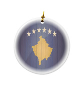 Rikki Knight Kosovo Flag on Distressed Wood Design Round Porcelain Two-Sided Christmas Ornaments