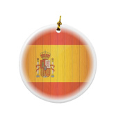 Rikki Knight Spain Flag on Distressed Wood Design Round Porcelain Two-Sided Christmas Ornaments