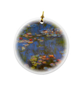 Rikki Knight Claude Monet Art Waterlillies Design Round Porcelain Two-Sided Christmas Ornaments