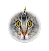 Rikki Knight Eye Catching Grey Cat with Yellow Eyes Design Round Porcelain Two-Sided Christmas Ornaments