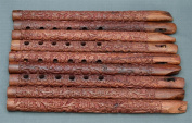 Ornate Wood Carving End Blown Flute Indian Tribal Music Piece 33cm Long ,WHO#-MVOW382HRT20122