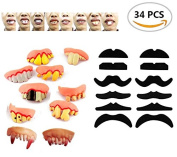 34PCS TKOnline Novelty Fake Moustache Moustaches Novelty & Toy And Ugly Fake Teeth Costume Party, Fancy Dress Party And Funny Gag Gift.