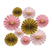Mybbshower Pink and Gold Paper Rosettes Princess Party Hanging Decoration Pack of 9