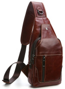 Everdoss Sling Backpack for Men Top Genuine Leather Chest Bag Unbalanced Bags for Camping Travelling